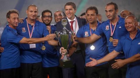 Al Ahly technical staff and coach Juan Carlos Garrido