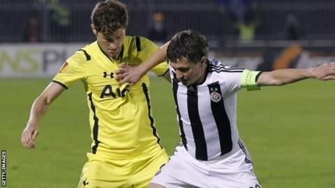 Sasa Ilic of Partizan and Ben Davies of Spurs