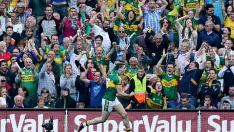 Paul Geaney runs away in delight as Kingdom fans celebrate his goal after just 50 seconds