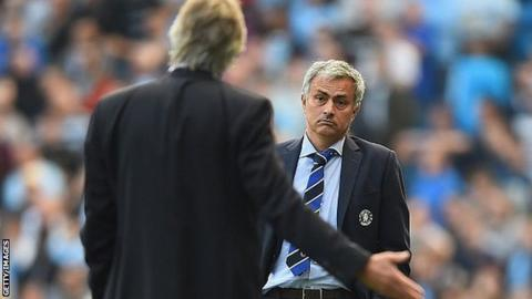 Manchester CIty and Chelsea managers Manuel Pellegrini and Jose Mourinho