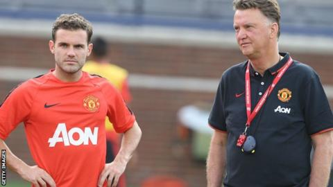 Juan Mata and Louis Van Gaal