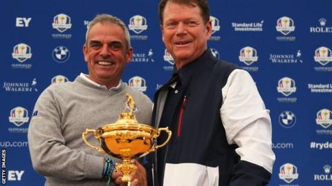 Paul McGinley (left) and Tom Watson
