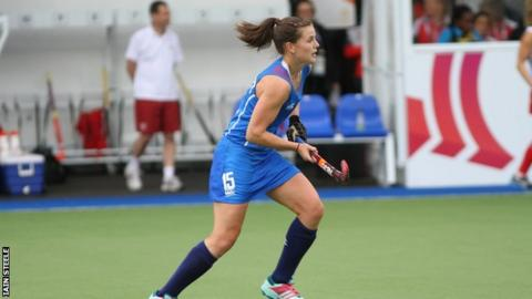 Defender Leigh Fawcett in action for Scotland during the Commonwealth Games