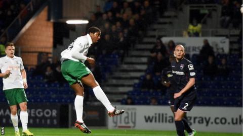 Dominique Malonga scores for Hibernian against Kilmarnock