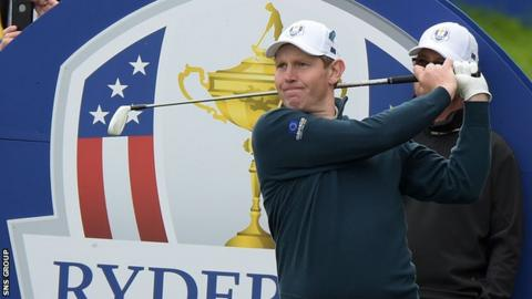 Stephen Gallacher enjoys a practice round at Gleneagles