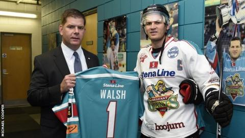 The Mayor of Boston was presented with a Belfast Giants shirt on his visit to the Odyssey Arena