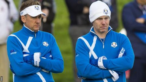 Ian Poulter and Stephen Gallacher (right)