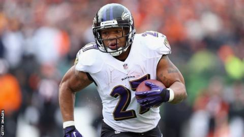Ray Rice in action for Baltimore Ravens