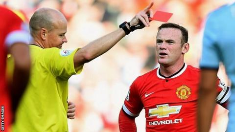 Manchester United striker Wayne rooney is sent off against West Ham