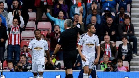 Angel Rangel is sent off at Sunderland