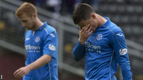 St Johnstone striker Michael O'Halloran looks dejected