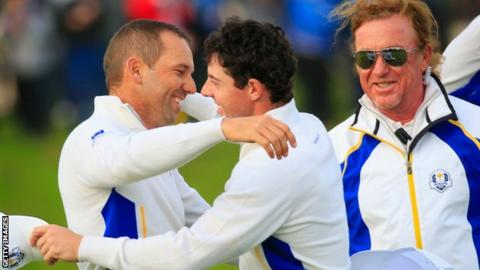 Sergio Garcia, Rory McIlroy and Miguel Angel Jimenez