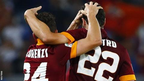 Roma's Destro and Florenzi celebrate Verona win