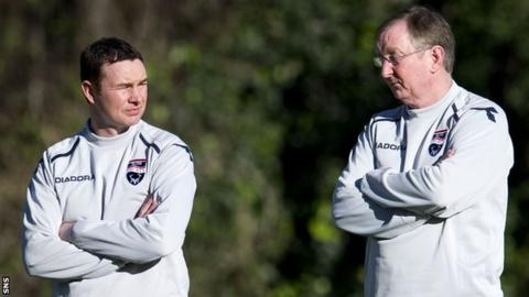 Derek and George Adams on the Ross County training ground