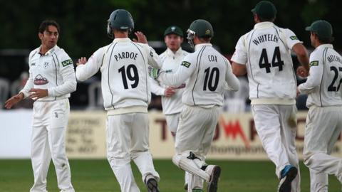 Worcestershire players celebrate another Saeed Ajmal wicket