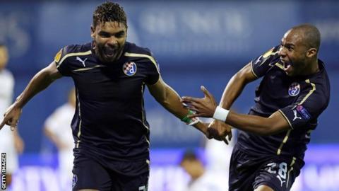 El Arabi Hilal Soudani and Wilson Eduardo celebrate for Dinamo Zagreb