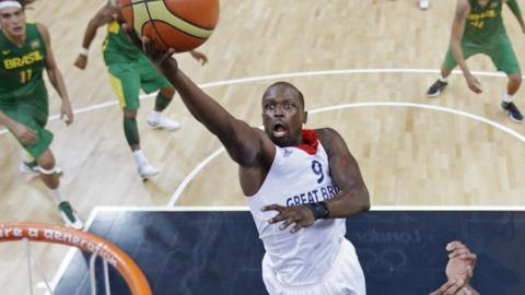 Team GB's Luol Deng in action against Brazil