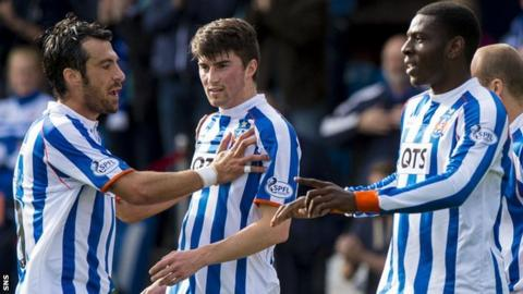 Kilmarnock captain Manuel Pascali (left) congratulates Tope Obadeyi (right)
