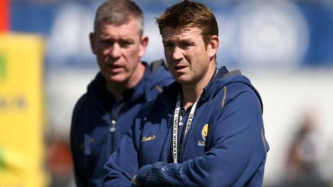Worcester director of rugby Dean Ryan and his assistant Carl Hogg