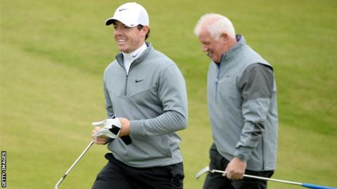 Rory McIlroy with his father Gerry at Kingsbarns on Friday