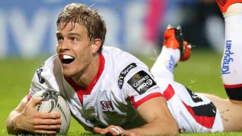Andrew Trimble touches down for one of his tries against Edinburgh