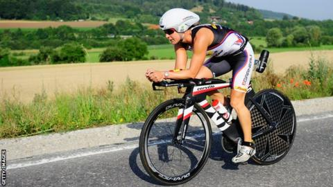 Rachel Joyce competing in the bike leg of Challenge Roth