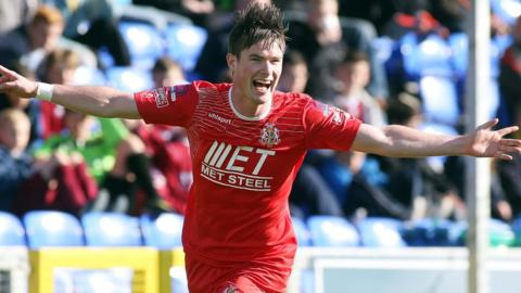 Peter McMahon scored twice in the 4-0 win at Institute which took Portadown to the top of the Irish Premiership table