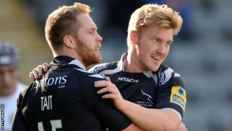 Alex Tait and Tom Catterick embrace during the Falcons' win against Exeter.