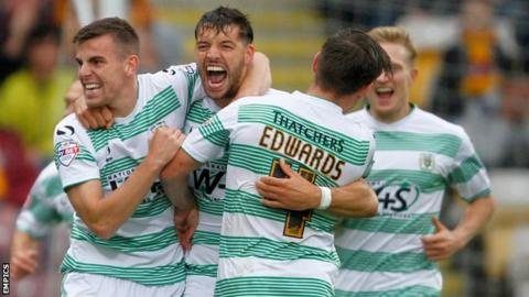 Yeovil players celebrate against Bradford