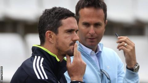 Kevin Pietersen with Michael Vaughan