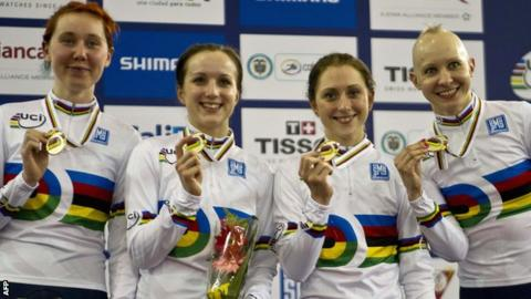 Great Britain's world championship winning quartet of Katie Archibald, Elinor Barker, Laura Trott and Joanna Rowsell