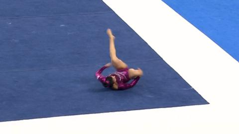 Great Britain's Claudia Fragapane break dances during her floor routine at the World Championships in Nanning, China.