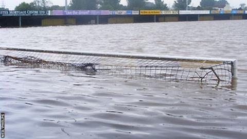 Gloucester City's ground under flood water in 2007