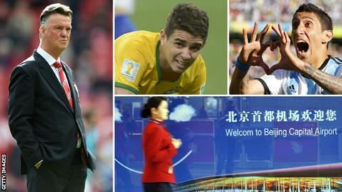 Man Utd boss Louis van Gaal (left), Chelsea's Brazilian Oscar (top centre) and Argentina's Angel Di Maria
