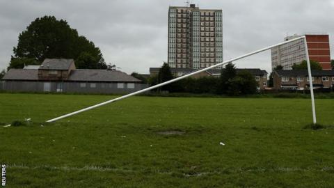 Broken football goalpost in Wythenshawe Park, Greater Manchester