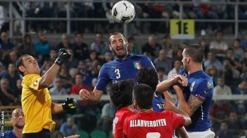 Giorgio Chiellini scored all three goals in Italy's 2-1 win against Azerbaijan