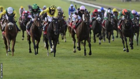 Big Easy (centre, yellow) wins the Cesarewitch