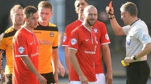 York City's Russell Penn is sent off against Newport County