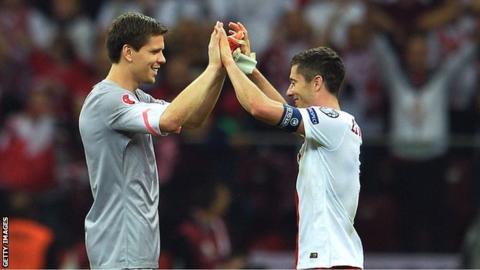 Poland goalkeeper Wojciech Szczesny and captain Robert Lewandowski