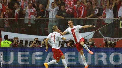 Poland's forward Arkadiusz Milik celebrates scoring against Germany with team-mate Kamil Grosicki