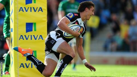 Henry Slade goes over against Newcastle
