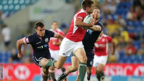 Scotland in action against Portugal in the Gold Coast Sevens event