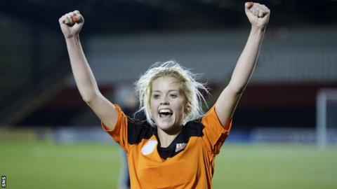 Denise O'Sullivan celebrates after scoring for Glasgow City against Medyk Konin