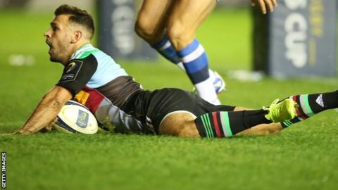 Danny Care scores for Harlequins in the 25-9 win over Castres in the European Rugby Champions Cup