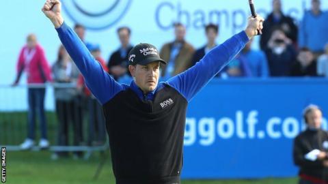 Henrik Stenson celebrates victory over George Coetzee
