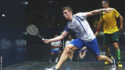 Greg Lobban in action for Scotland in the Commonwealth Games against Australia's Cameron Pilley