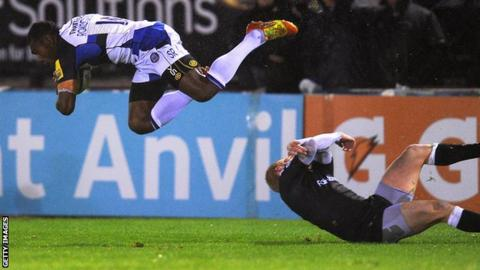 Semesa Rokoduguni flies through the air after blasting through the tackle of Newcastle's Tom Catterick