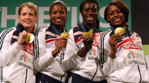 Great Britain's women's 4 x 400m gold medallists at the 2013 European Indoor Athletics Championships