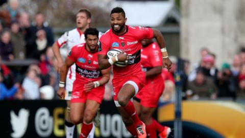 Delon Armitage runs clear to score a second-half try after intercepting a wayward Nick Williams pass