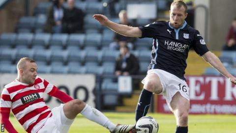 Dundee striker David Clarkson scored the opening goal in the Dens men's win at home to Hamilton